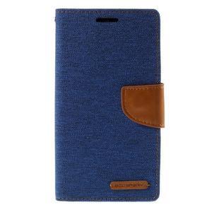 Canvas PU kožené/textilní pouzdro na LG G3 - modré - 3