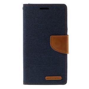 Canvas PU kožené/textilné puzdro pre LG G3 - tmavomodré - 3