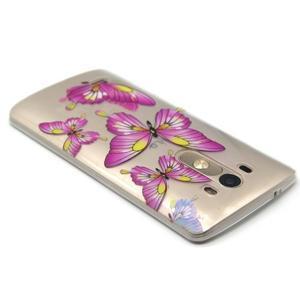 Priehľadný gélový obal pre LG G3 - motýľe - 3