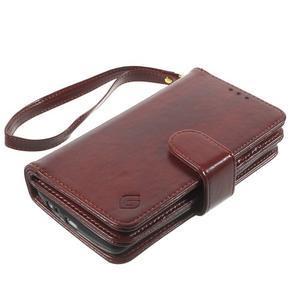 Patrové peňaženkové puzdro pre mobil LG G3 - hnedé - 3
