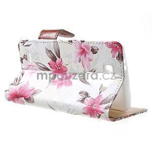 Elegantné lilie peňaženkové puzdro na LG G3 s - biele - 3
