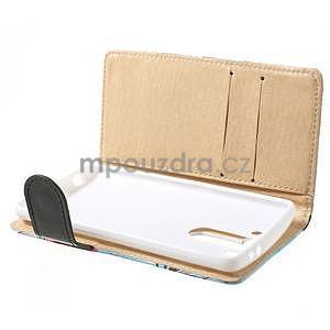 Elegantné lilie peňaženkové puzdro na LG G3 s - tyrkysové - 3