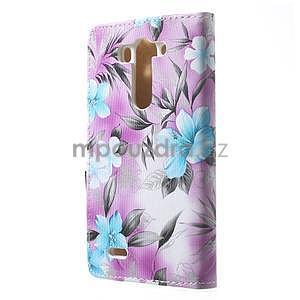 Elegantné lilie peňaženkové puzdro pre LG G3 s - fialové - 3