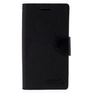 Canvas PU kožené/textilné puzdro pre mobil LG G4 - čierne - 3