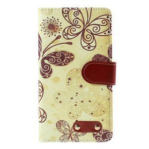 Koženkové puzdro pre mobil LG G4 - motýľe - 3