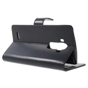 Luxury PU kožené puzdro pre mobil LG G4 - tmavomodré - 3
