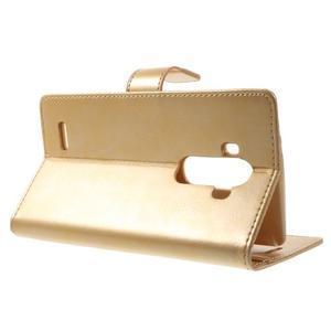 Luxury PU kožené puzdro pre mobil LG G4 - zlaté - 3