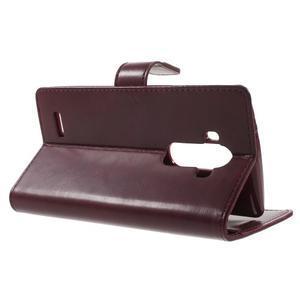 Luxury PU kožené puzdro pre mobil LG G4 - vínove červené - 3
