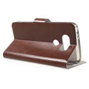 Horse PU kožené peňaženkové puzdro pre LG G5 - hnedé - 3