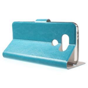 Horse PU kožené peňaženkové puzdro pre LG G5 - modré - 3