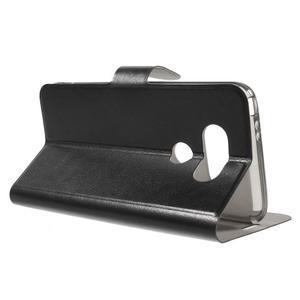 Horse PU kožené peněženkové pouzdro na LG G5 - černé - 3