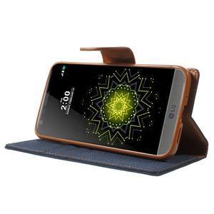 Canvas PU kožené/textilní pouzdro na LG G5 - tmavěmodré - 3