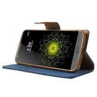 Canvas PU kožené/textilní pouzdro na LG G5 - modré - 3/7