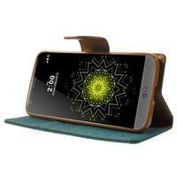 Canvas PU kožené/textilné puzdro pre LG G5 - zelené - 3/7