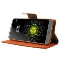 Canvas PU kožené/textilní pouzdro na LG G5 - oranžové - 3/7
