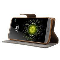 Canvas PU kožené/textilní pouzdro na LG G5 - šedé - 3/7