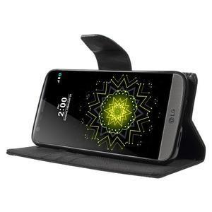 Canvas PU kožené/textilní pouzdro na LG G5 - černé - 3
