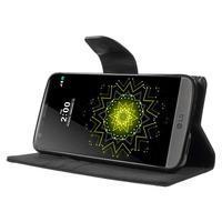 Canvas PU kožené/textilní pouzdro na LG G5 - černé - 3/7