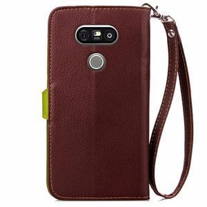 Leaf PU kožené puzdro pre LG G5 - hnedé - 3