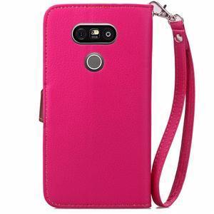 Leaf PU kožené puzdro pre LG G5 - rose - 3