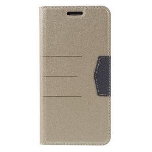 Klopové peňaženkové puzdro pre LG G5 - zlaté - 3