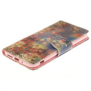 Obrázkové koženkové puzdro pre LG G5 - maľované listí - 3