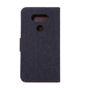 Jeans peňaženkové puzdro pre LG G5 - černomodré - 3