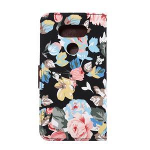 Kvetinové puzdro pre mobil LG G5 - čierny vzor - 3