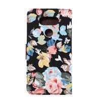 Kvetinové puzdro pre mobil LG G5 - čierny vzor - 3/7