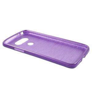 Hladký gelový obal s broušeným vzorem na LG G5 - fialový - 3