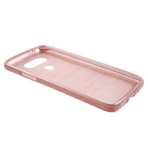 Hladký gélový obal s brúseným vzorem na LG G5 - ružový - 3