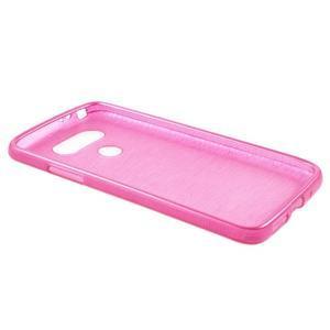 Hladký gelový obal s broušeným vzorem na LG G5 - rose - 3
