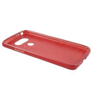 Hladký gélový obal s brúseným vzorem na LG G5 - červený - 3