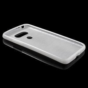 Hladký gélový obal s brúseným vzorem na LG G5 - biely - 3