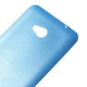 Gélový kryt s imitáciou kože pre Microsoft Lumia 640 - modrý - 3