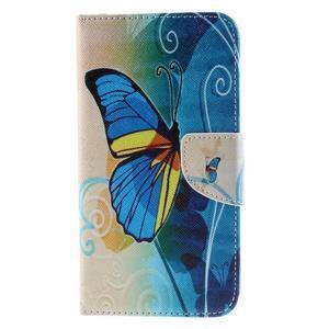 Peněženkové pouzdro na Microsoft Lumia 950 - modrý motýl - 3