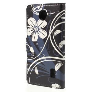 Zapínacie peňaženkové puzdro Huawei Y635 - biela kvetina - 3