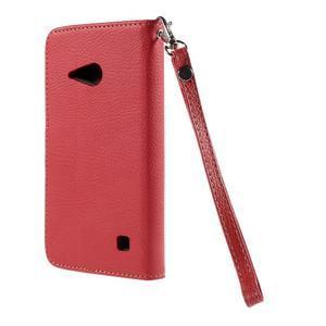 PU kožené púzdro so zapínaním na Nokia Lumia 730/735 - červené - 3
