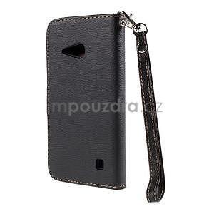 PU kožené púzdro so zapínaním na Nokia Lumia 730/735 - čierne - 3