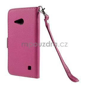 PU kožené púzdro so zapínaním na Nokia Lumia 730/735 - rose - 3