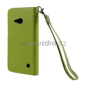 PU kožené púzdro so zapínaním na Nokia Lumia 730/735 - zelené - 3