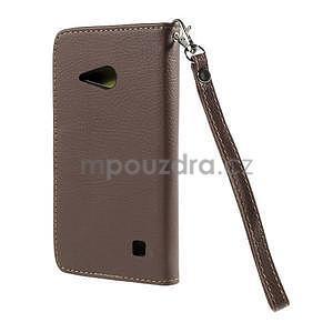 PU kožené púzdro so zapínaním na Nokia Lumia 730/735 - hnedé - 3