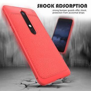 IVS gélový obal so štýlovou textúrou na Nokia 6.1 - červený - 3