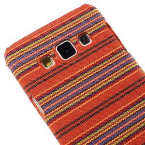 Obal potažený látkou pre Samsung Galaxy A3    - oranžový - 3