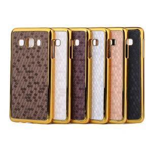 Elegantný obal na Samsung Galaxy A3 - hnědy se zlatým lemem - 3