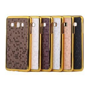 Elegantný obal na Samsung Galaxy A3 - strieborný se zlatým lemem - 3