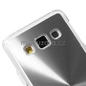 Metalický plastový obal na Samsung Galaxy A3 - strieborný - 3