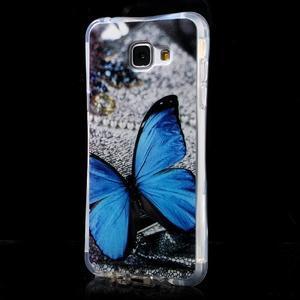 Tvarovaný gelový obal na Samsung Galaxy A5 (2016) - modrý motýl - 3