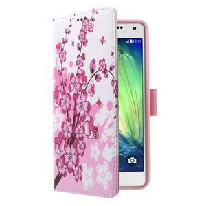 Koženkové pouzdro na Samsung Galaxy A5 (2016) - kvetoucí větvička - 3