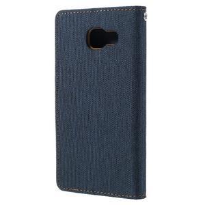 Canvas PU kožené/textilní pouzdro na Samsung Galaxy A5 (2016) - tmavě modré - 3